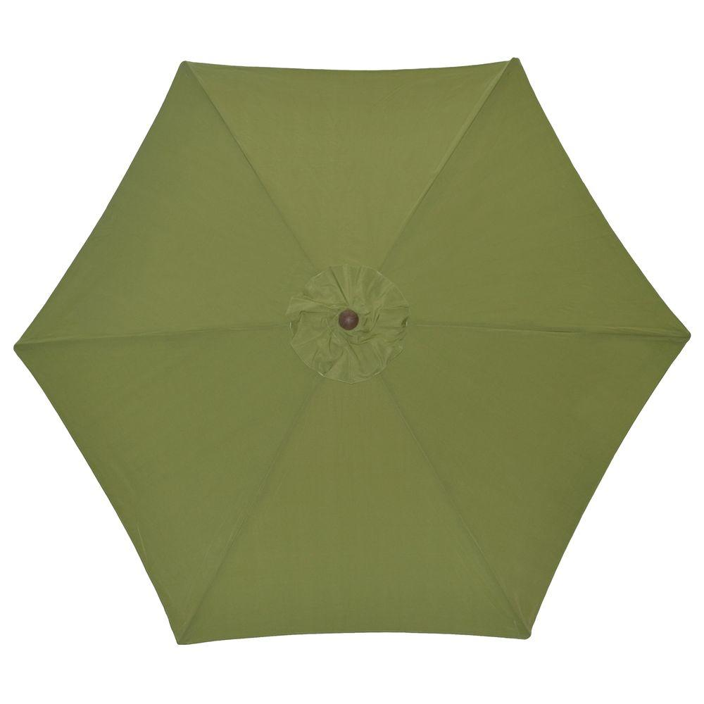 Hampton Bay 9 ft. Wood Patio Umbrella in Green