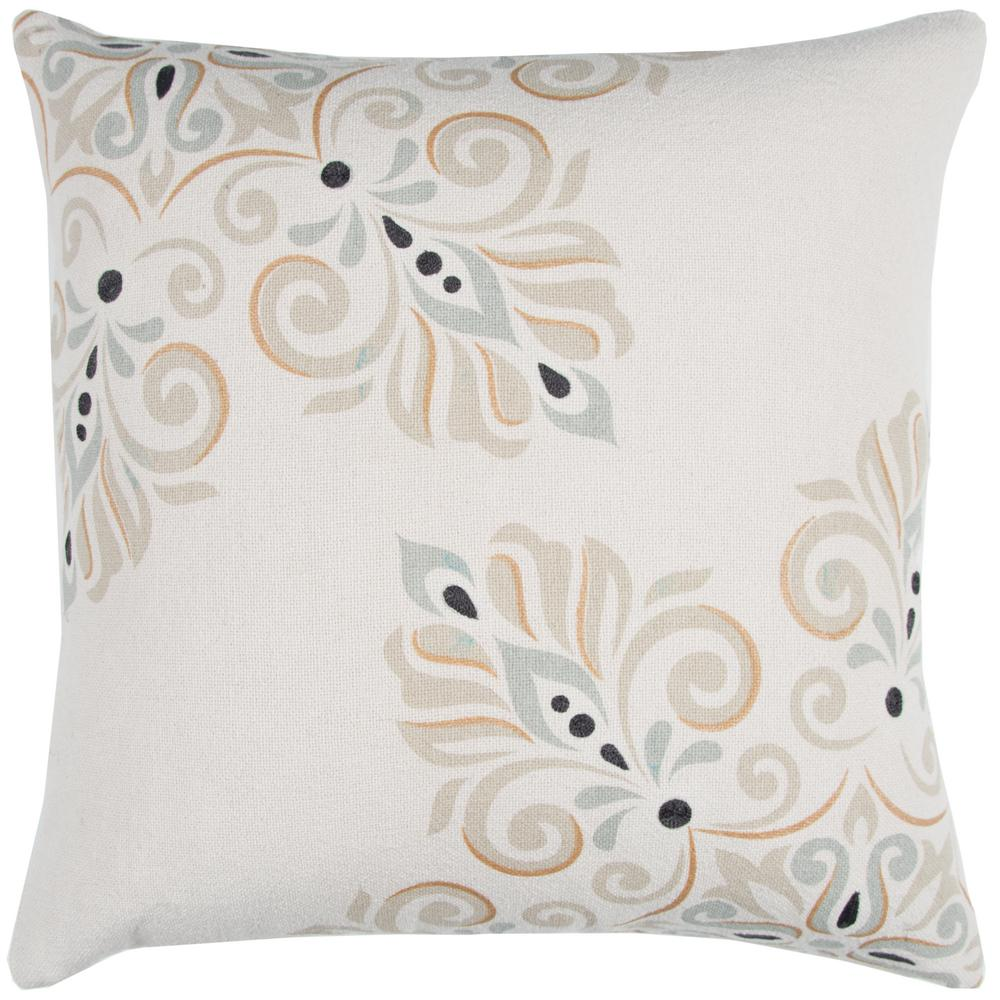 Damask Pattern 20 in. x 20 in. Natural Decorative Filled Pillow
