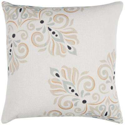 Ivory Cotton 20 in. X 20 in. Decorative Filled Throw Pillow