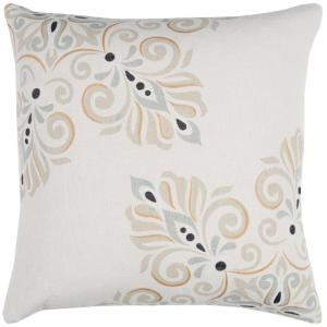 Ivory Floral Polyester 20 in. x 20 in. Throw Pillow