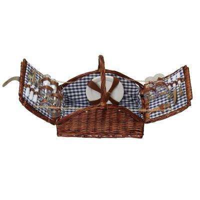 17.5 in. x 19.5 in. Willow Picnic Basket Service for 4