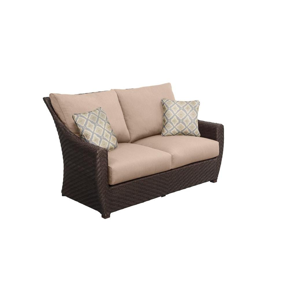 Brown Jordan Highland Patio Loveseat with Sparrow Cushions and Bazaar Throw Pillows -- CUSTOM