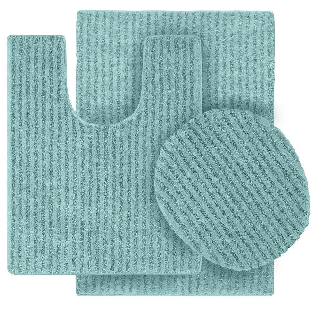 Sheridan Sea Foam 21 in. x 34 in. Washable Bathroom 3-Piece Rug Set