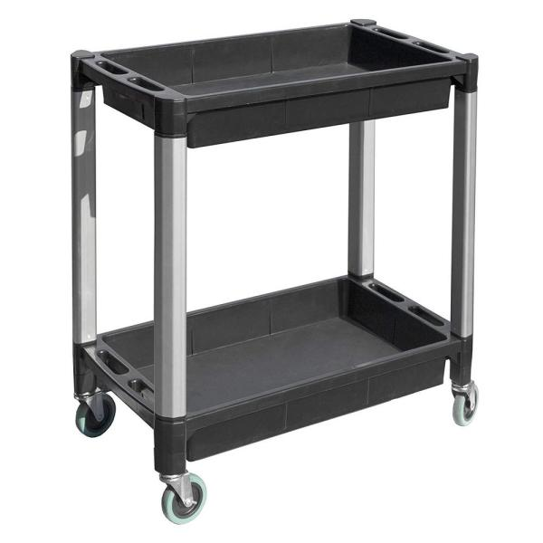 18 in. 2-Tray Service/Utility Cart with Aluminum Legs and 4 in. Dia Swivel Castors in Black and Gray