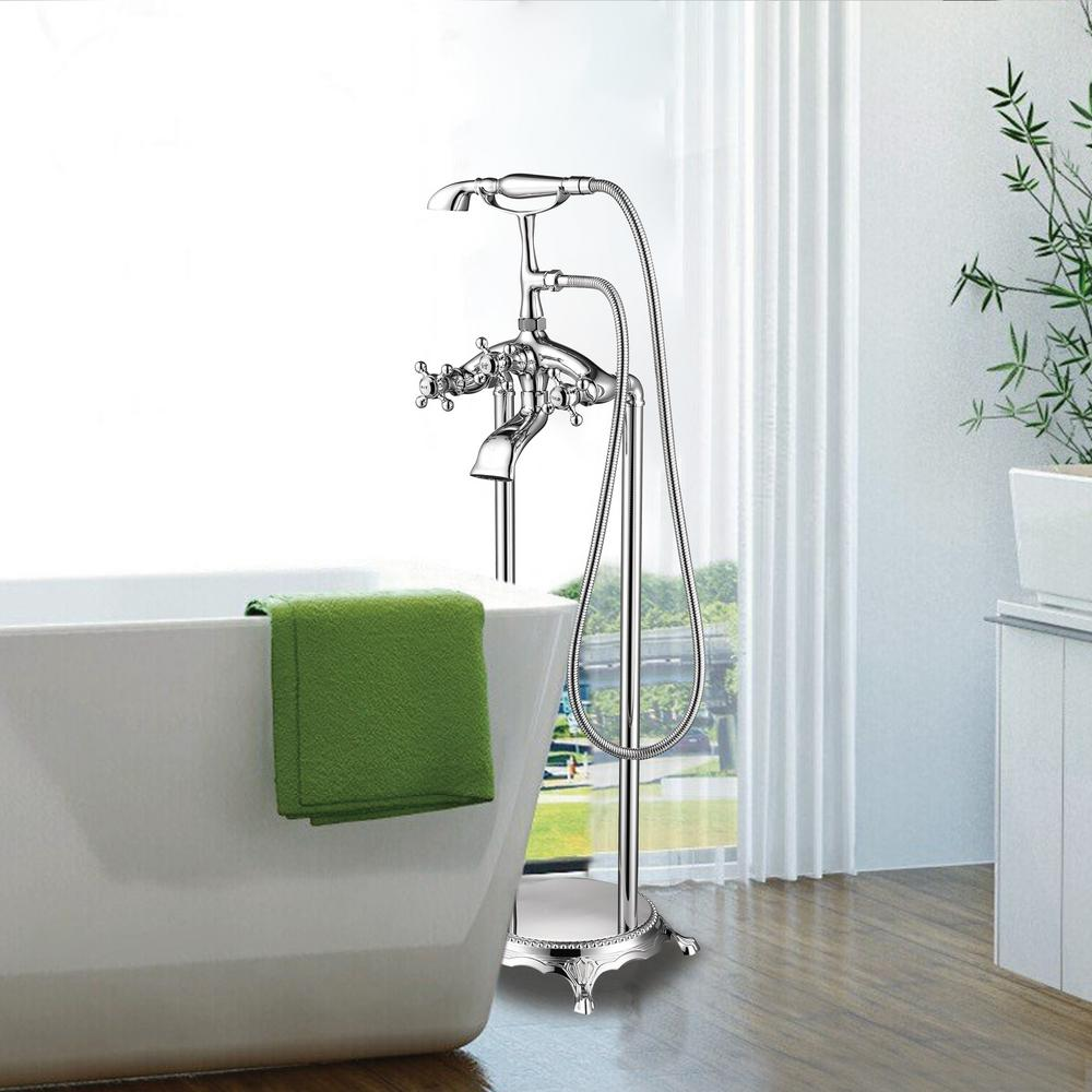 Vanity Art 40 in. H x 8 in. W Single-Handle Claw Foot Tub Faucet with Hand Shower in Polished Chrome was $229.99 now $172.48 (25.0% off)