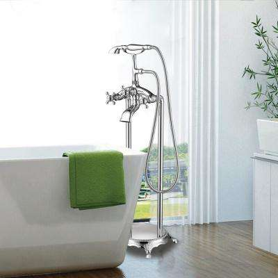 40 in. H x 8 in. W Single-Handle Claw Foot Tub Faucet with Hand Shower in Polished Chrome