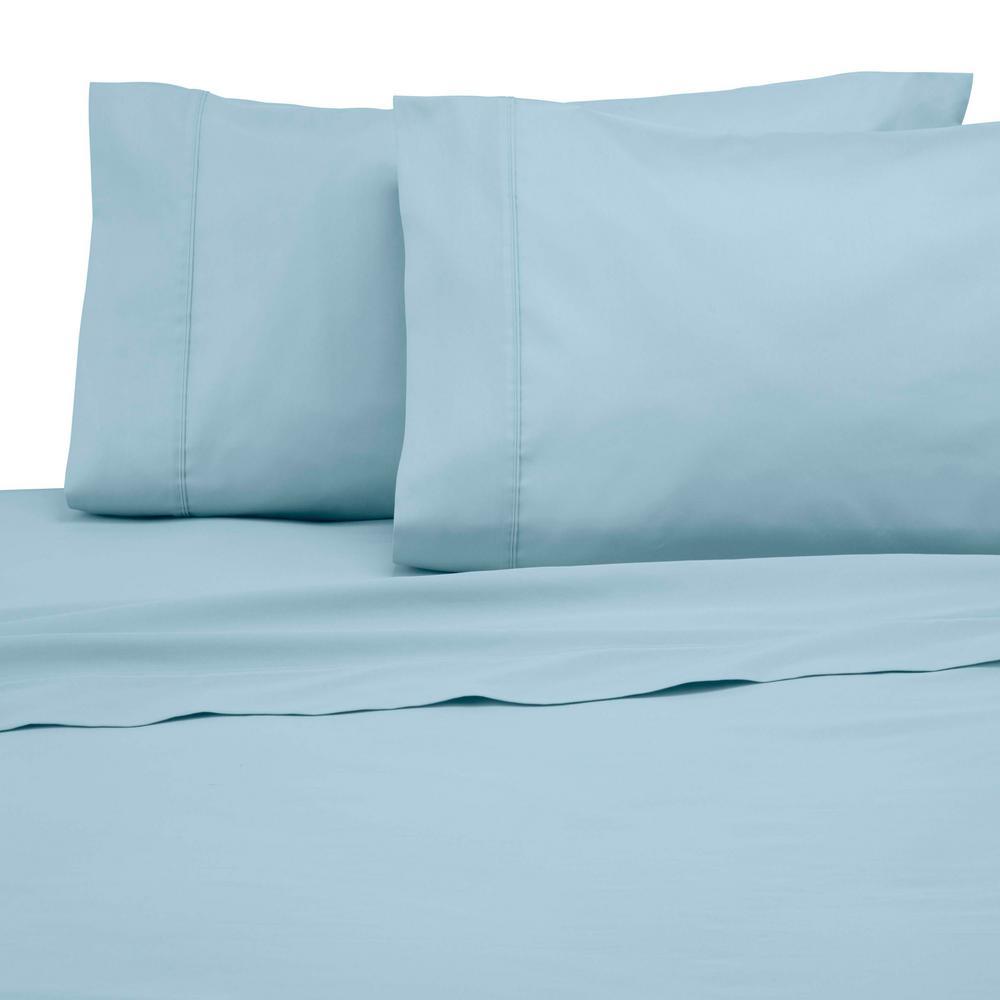 Solid Color T300 4-Piece Soft Aqua Cotton Queen Sheet Set