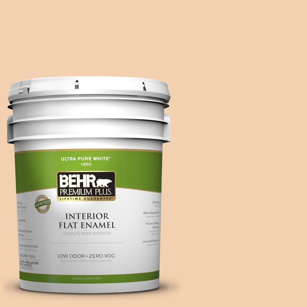 BEHR Premium Plus 5-gal. #PPL-42 Warm Apricot Zero VOC Flat Enamel Interior Paint-DISCONTINUED