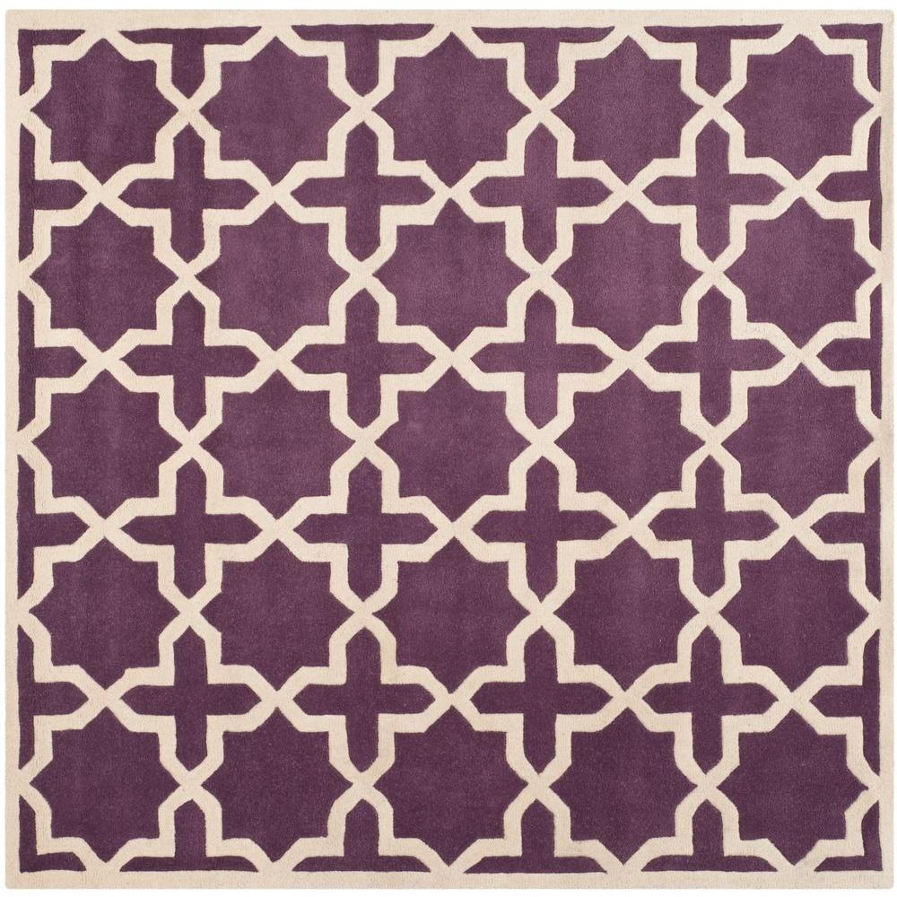 Safavieh Chatham Purple/Ivory 7 ft. x 7 ft. Square Area Rug