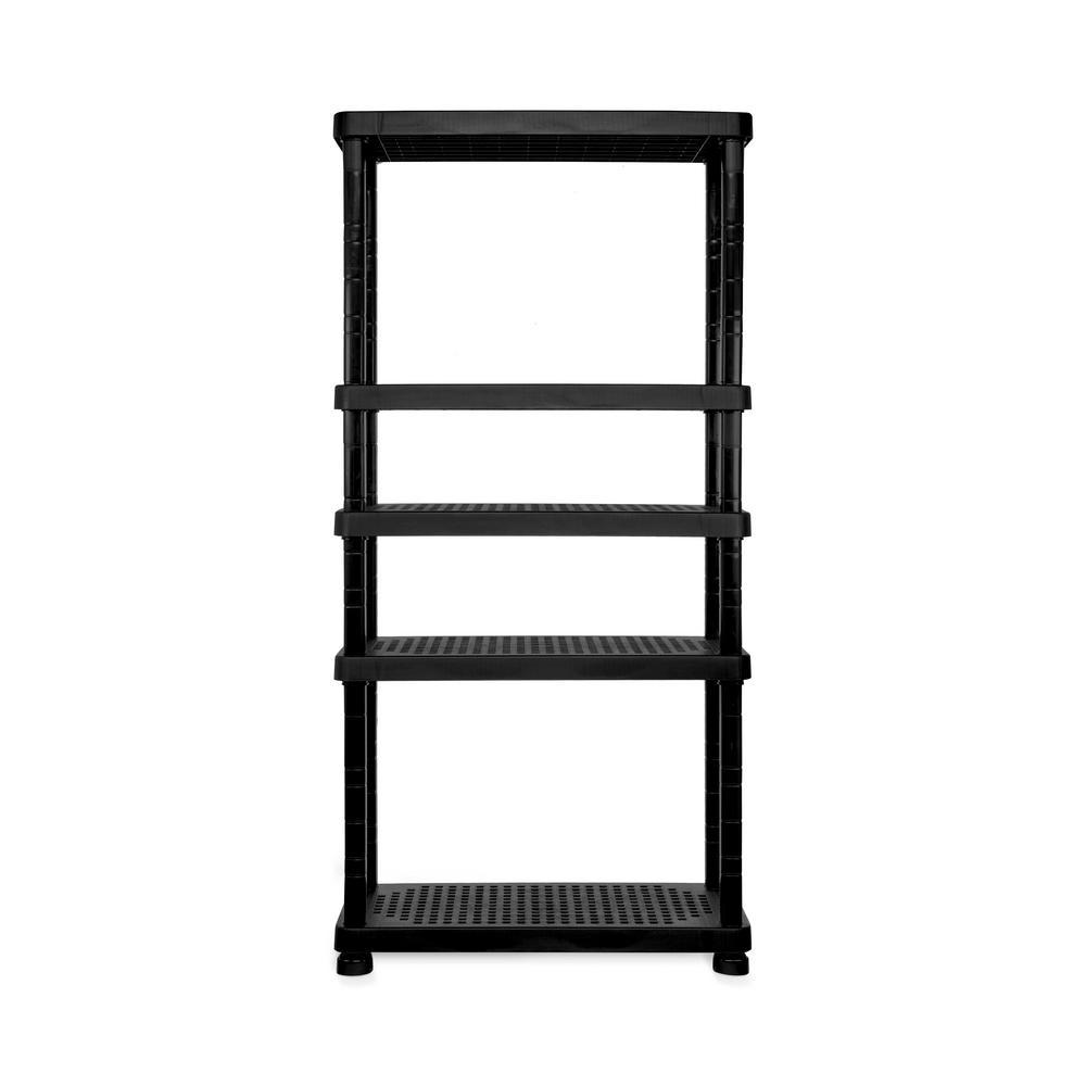 35.8 in. W x 74.4 in. H x 17.3 in. D. 5 Shelf Plastic Garage Storage Shelving Unit in Black