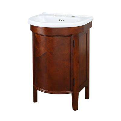 Laguna 23 in. W x 19-1/2 D Bath Vanity in Cherry with Vitreous China Vanity Top in White and Mirror