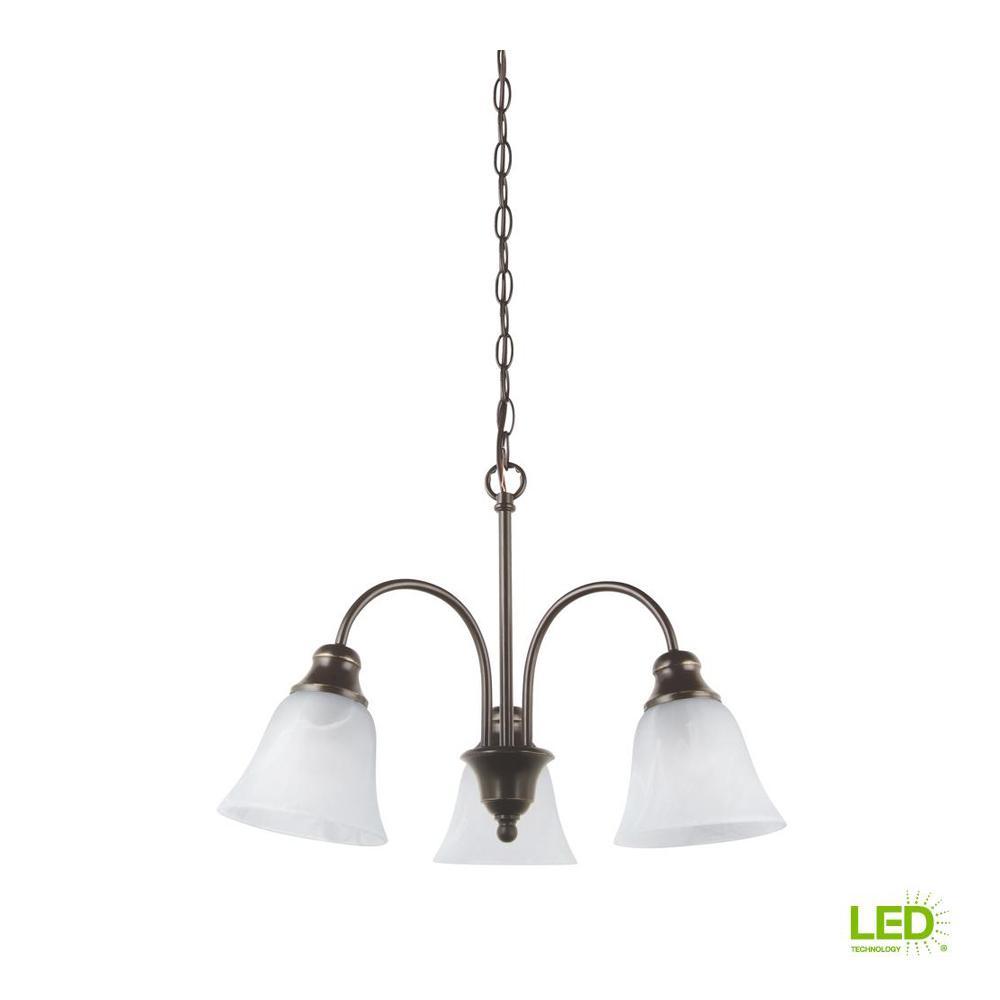 Windgate 3-Light Heirloom Bronze Chandelier with LED Bulbs