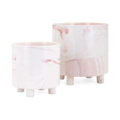 Contemporary 8 in. Dia Pink and White Round Ceramic Planters with Tiny Legs (2-Pack)