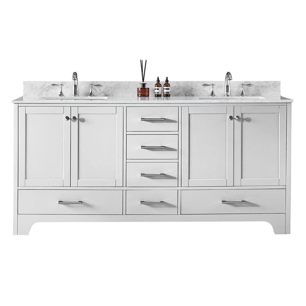 Clariette 72 in. W x 22 in. D x 34.21 in. H Bath Vanity in White with Marble Vanity Top in White with White Basins
