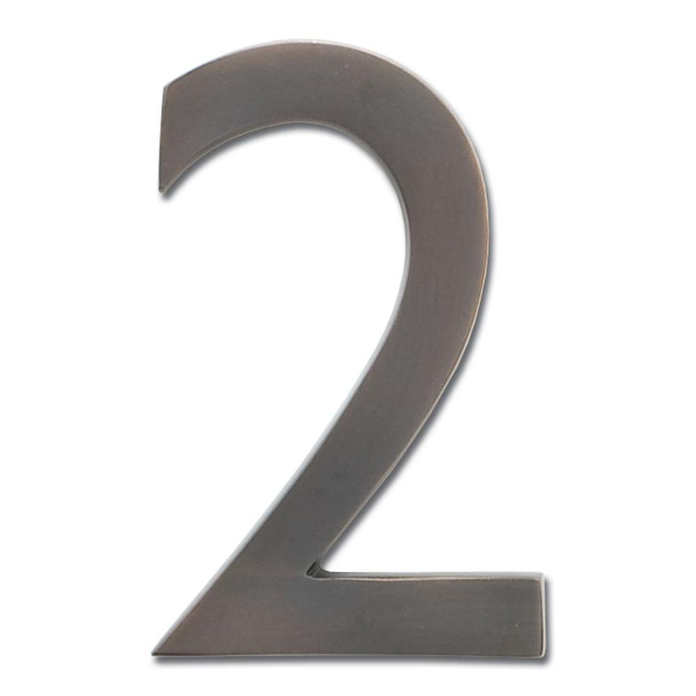 4 in. Dark Aged Copper Floating House Number 2