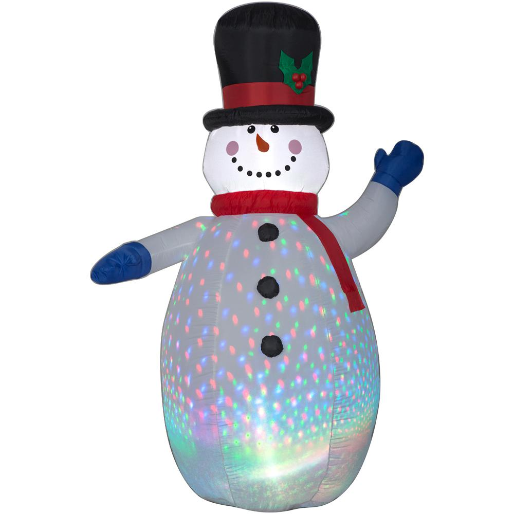 6.5 ft. Inflatable Airblown Color Flash Snowman with Red and White