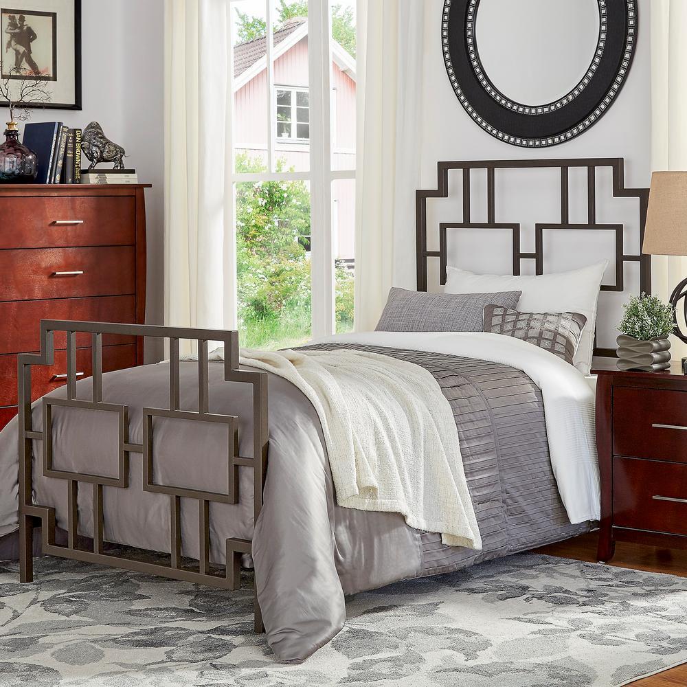 Homesullivan letti bronzed black twin bed frame 40e432bt for Black twin bed frame