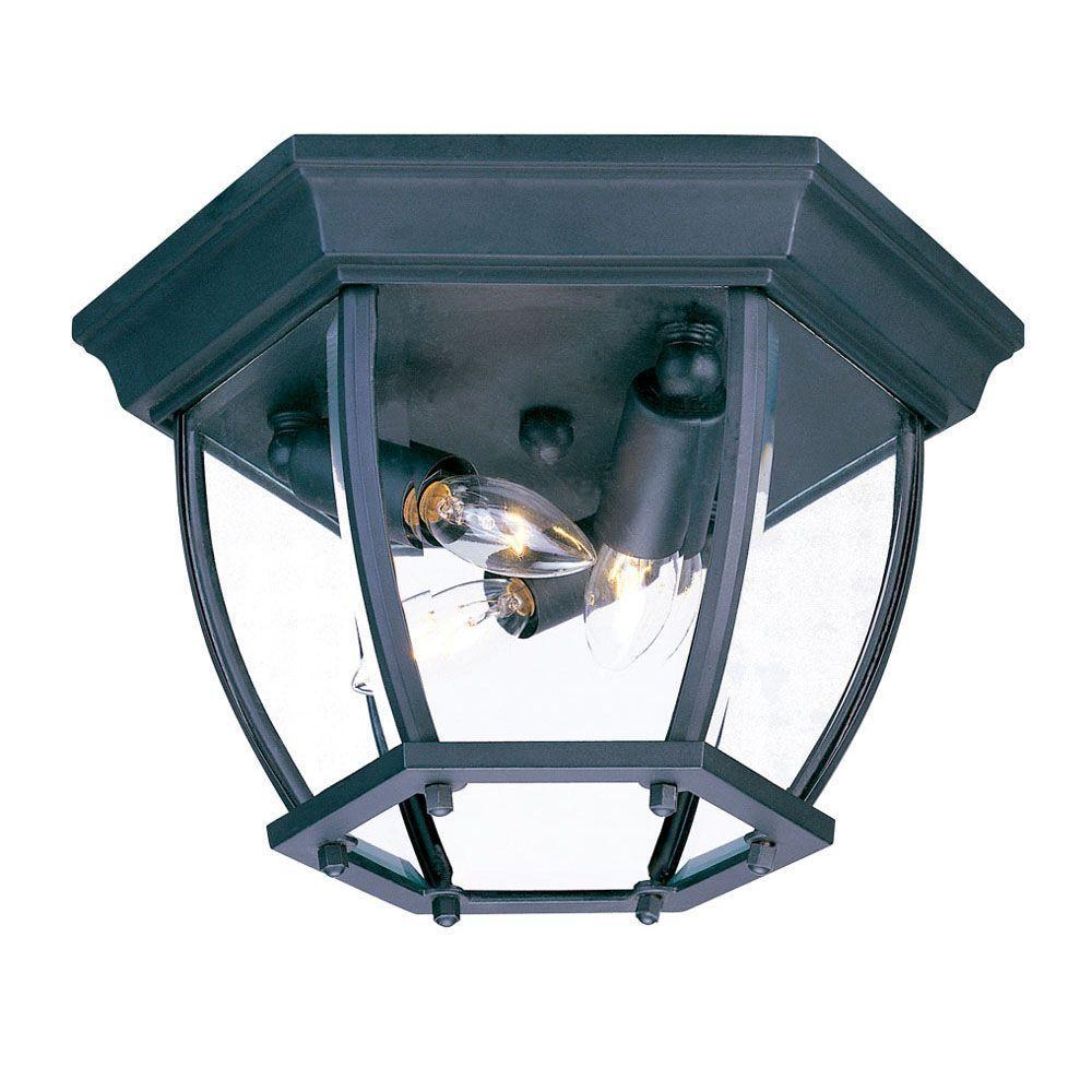 Flushmount Collection Ceiling-Mount 3-Light Matte Black Outdoor Light Fixture