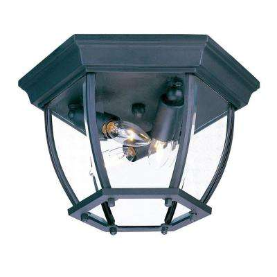 Flushmount Collection Ceiling-Mount 3-Light Matte Black Outdoor Light Fixture