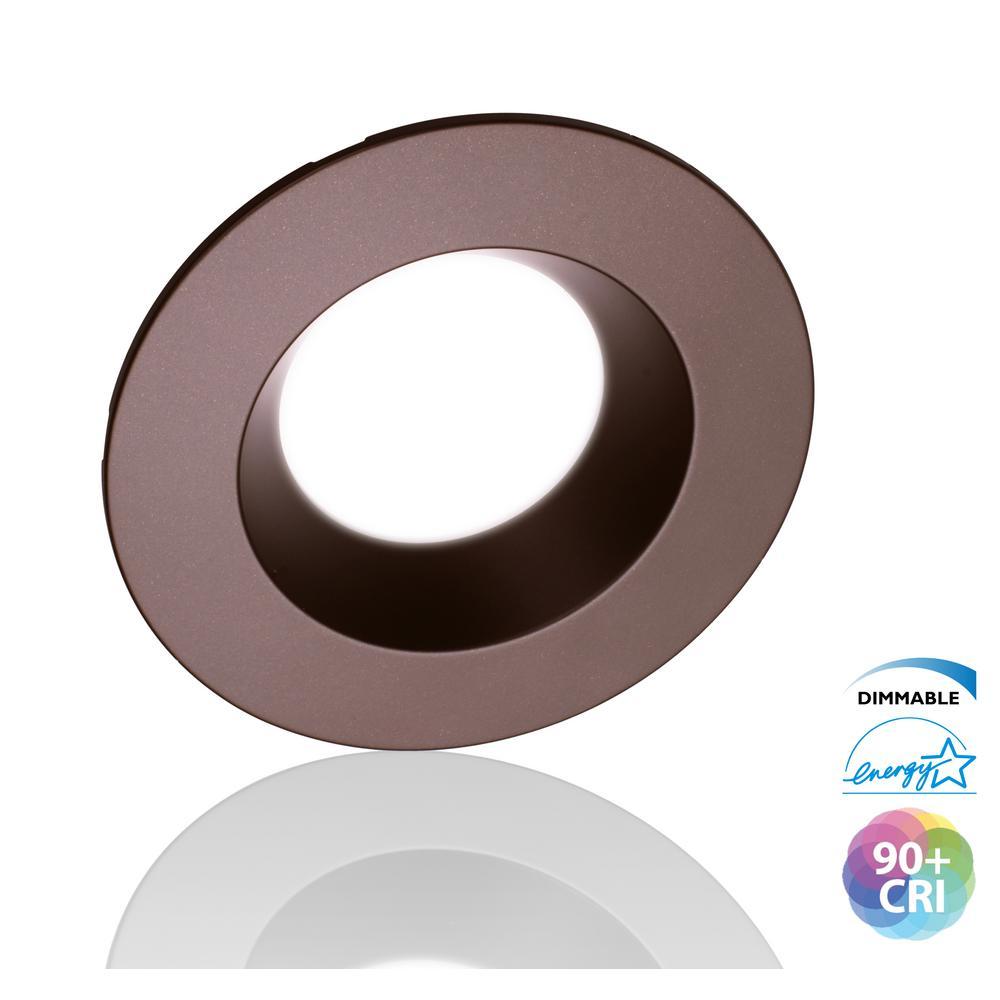 5/6 in. 4000K Oil Rubbed Bronze Integrated LED Recessed Retrofit Downlight Trim