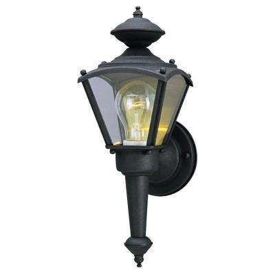 1-Light Matte Black Steel Exterior Wall Lantern with Clear Glass Panels