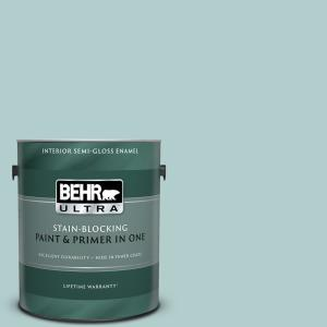 1 gal. #UL220-8 Clear Pond Semi-Gloss Enamel Interior Paint and Primer in One