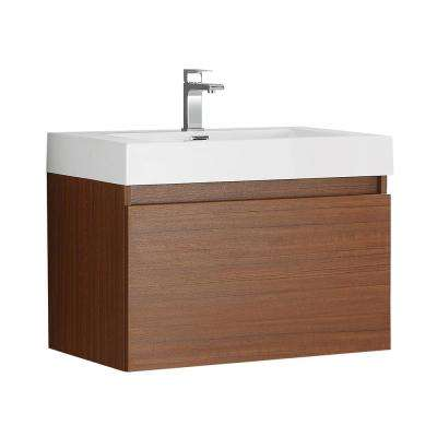 Mezzo 30 in. Modern Wall Hung Bath Vanity in Teak with Vanity Top in White with White Basin