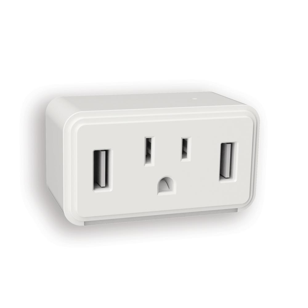 White Cube LED Night Light with Power Outlet and Duel USB