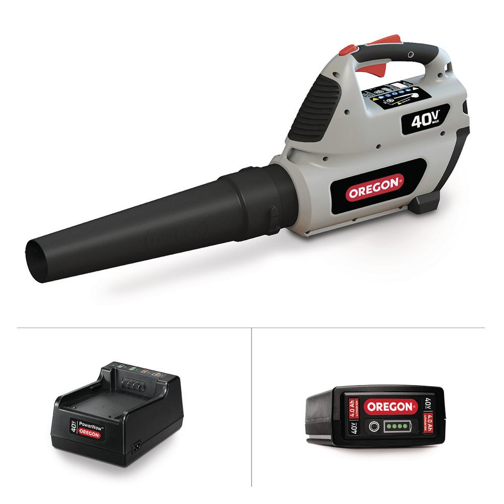 Oregon 131 Mph 507 Cfm Variable Speed Turbo 40 Volt Lithium Ion Cordless Blower 4 0ah Battery And Charger Included