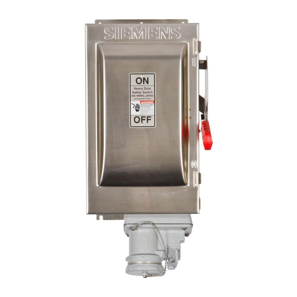 Siemens Heavy Duty 60 Amp 600-Volt 3-Pole Type 4X Fusible Safety Switch with Receptacle