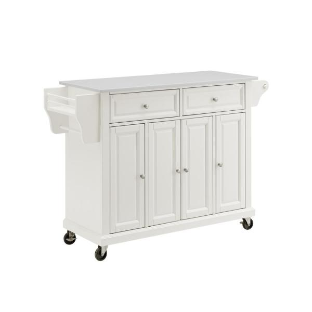 Full Size White Kitchen Cart with White Granite Top
