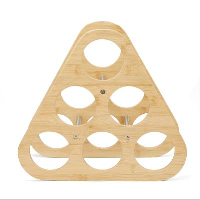 6-Bottle Bamboo and Stainless Steel Pyramid Wine Rack