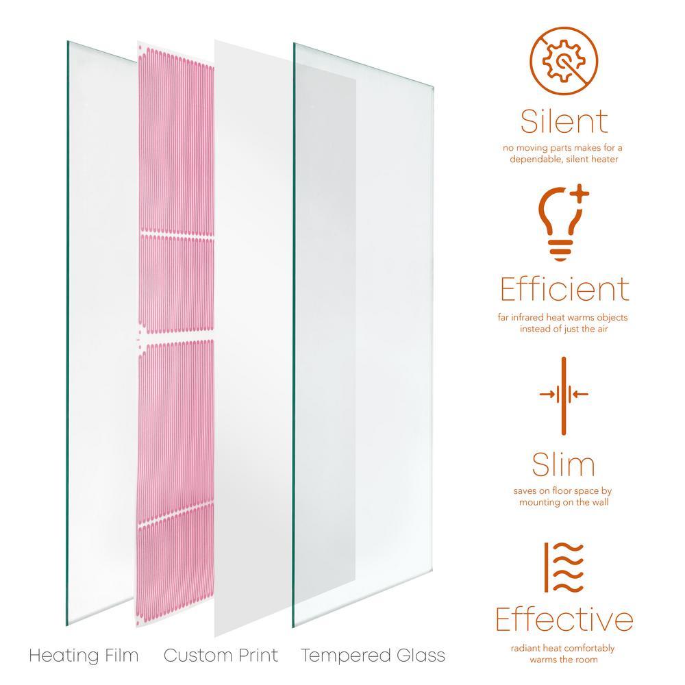 Glass Heater 500-Watt Radiant Wall Hanging Decorative Glass Heat Panel - White