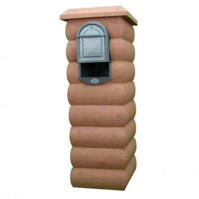 Old Walnut Mailbox Column with Medium Size Powder Coated Galvanized Steel Insert