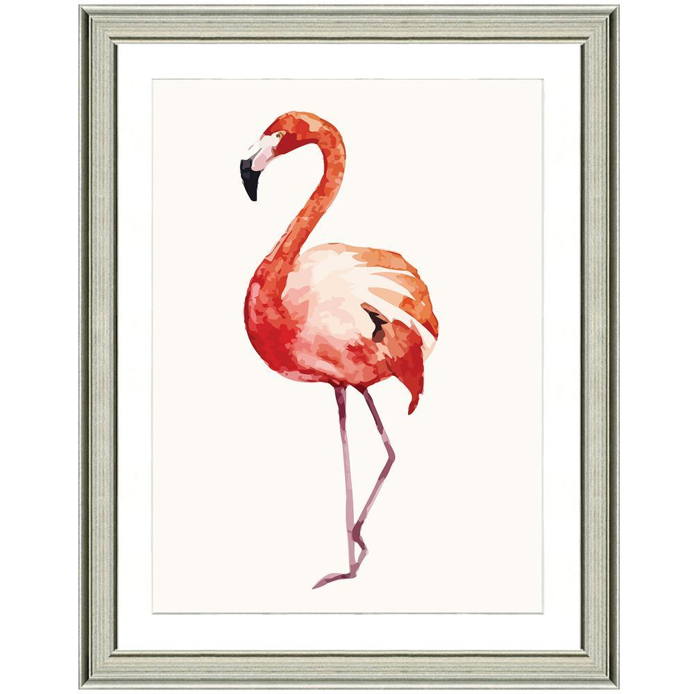 """""""Fiery flamingo I"""" Framed Archival Paper Wall Art (26x32 in full size)"""