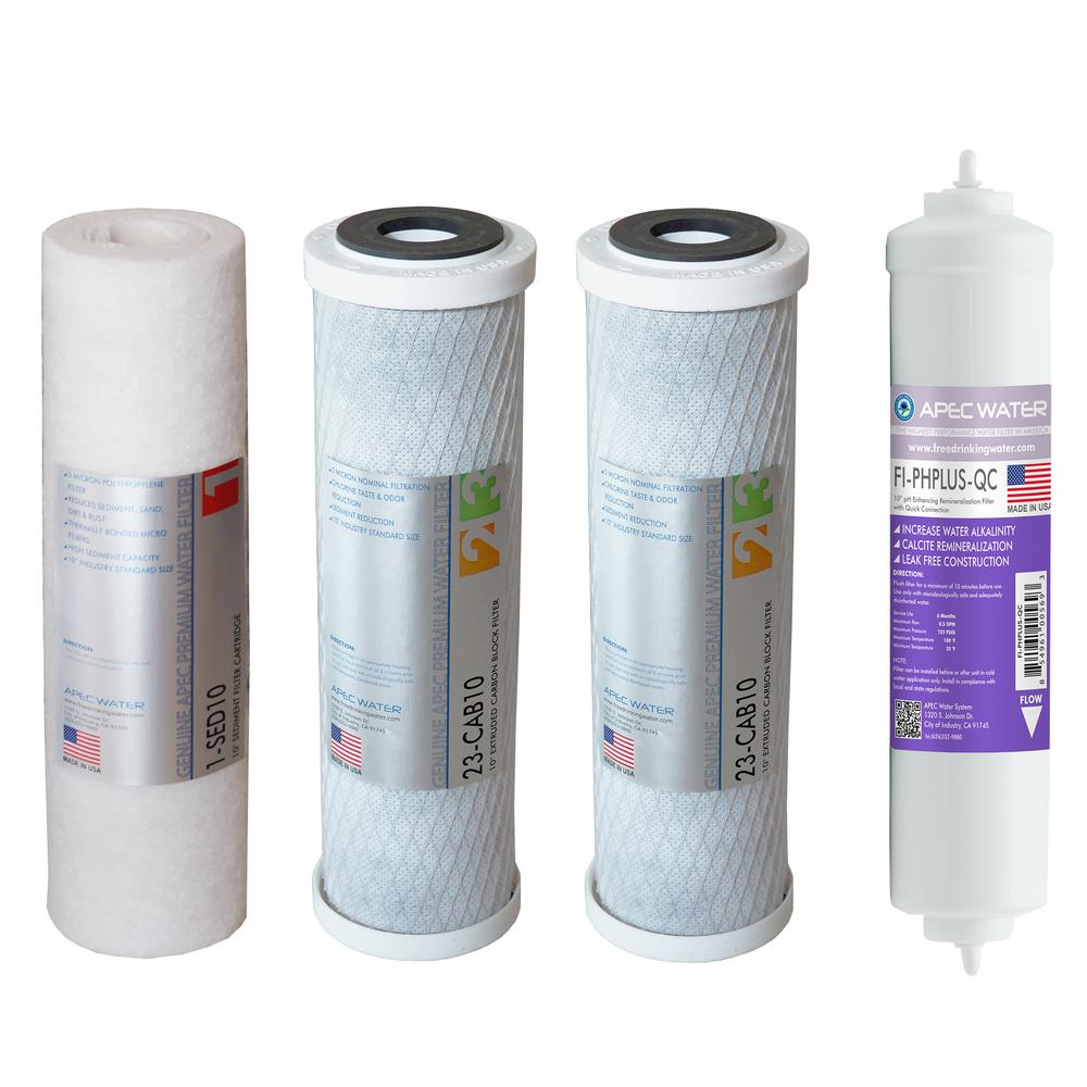 Apec Water Systems Ultimate 10 In Inline Carbon Filter With 1 4 Nano 10in 5 Mikron Super Capacity Replacement Pre Set For 90 Gpd
