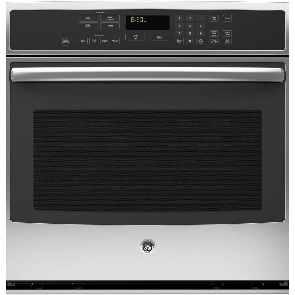 GE Profile 30 in. Single Electric Wall Oven Self-Cleaning with Steam Plus Convection in Stainless Steel