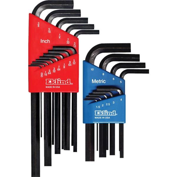 Combination Hex-L Key Set Sizes 0.050 in. to 3/8 in. and 1.5 mm to 10 mm (22-Piece)