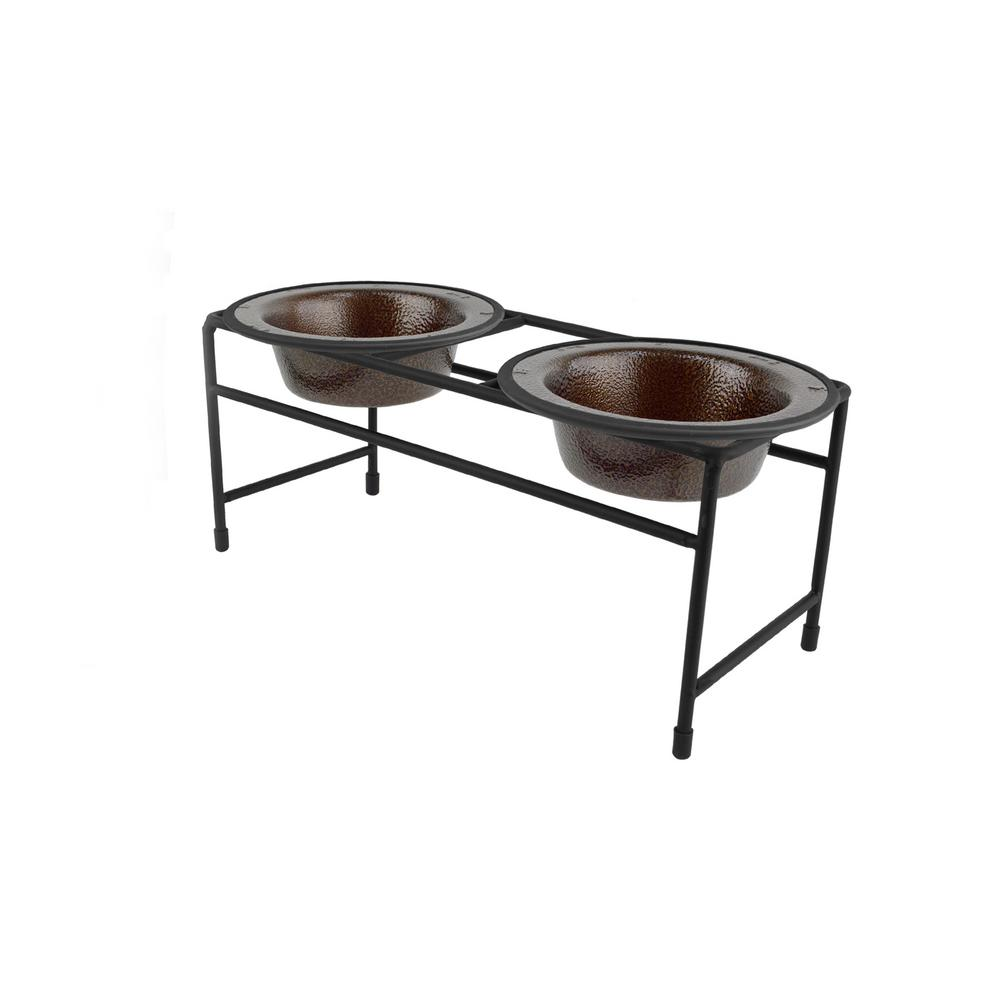 .75 Cup Modern Double Diner Feeder with Cat/Puppy Bowls, Copper Vein