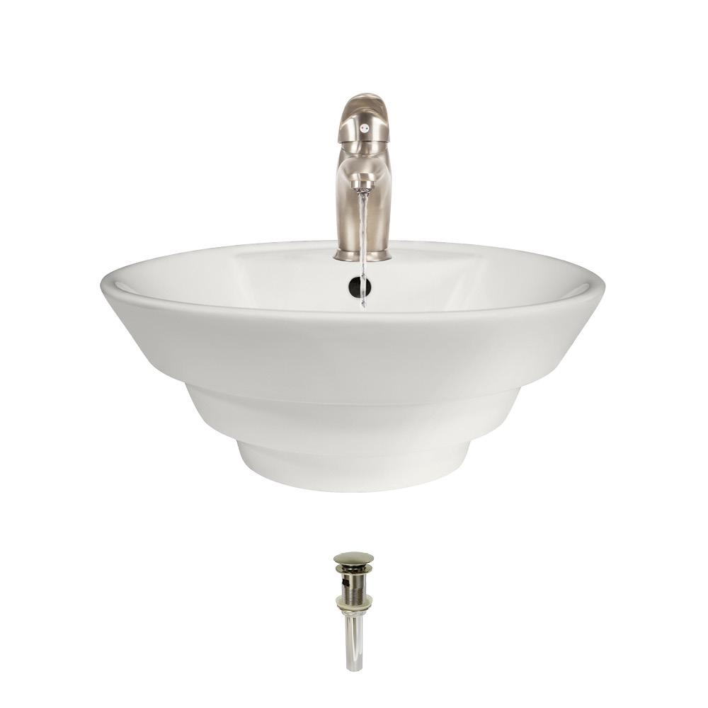 Mr Direct Porcelain Vessel Sink In Bisque With 722 Faucet