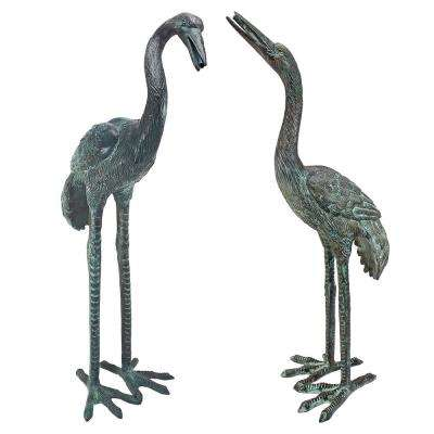 Emerald Verde Small Cranes Cast Bronze Garden Statue Set (2-Piece)