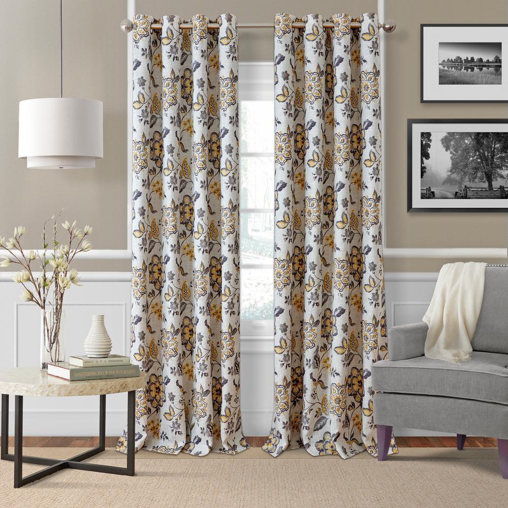 Sorrento Gray/Gold Single Blackout Window Curtain Panel - 52 in. W x 95 in. L