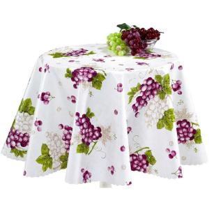 Berrnour Home 55 inch Round Indoor and Outdoor Grape Vine Design Tablecloth for Dining Table by Berrnour Home