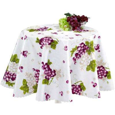 55 in. Round Indoor and Outdoor Grape Vine Design Tablecloth for Dining Table
