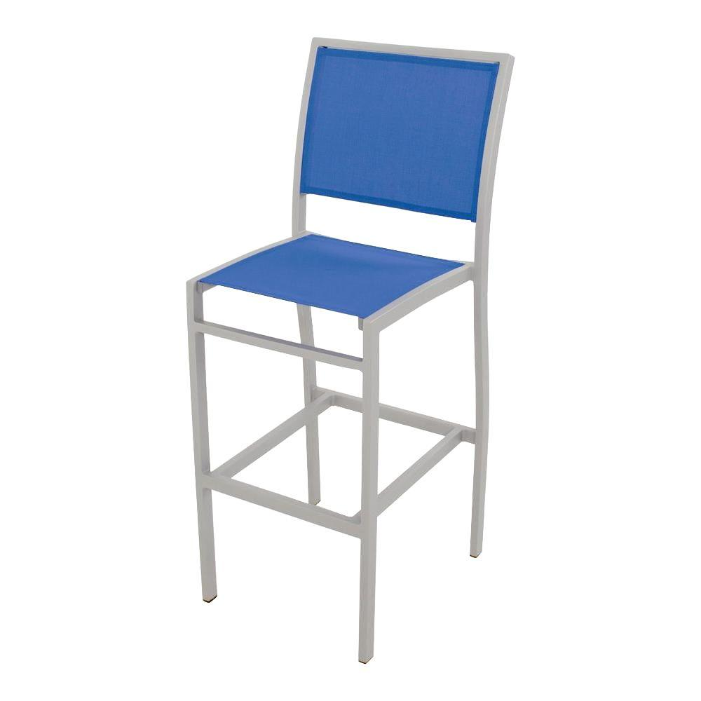 POLYWOOD Bayline Textured Silver All-Weather Aluminum/Plastic Outdoor Bar Side Chair in Royal Blue Sling