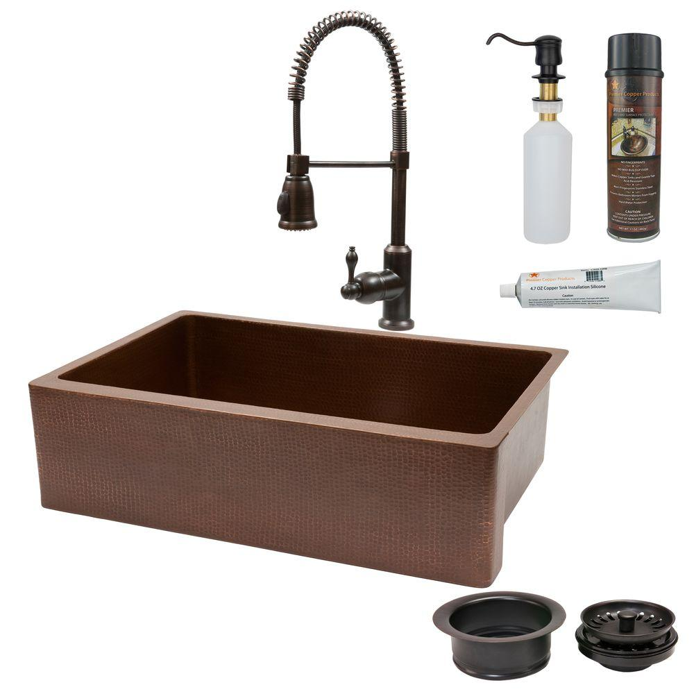 All In One Undermount Copper 33 In. 0 Hole Single Bowl Kitchen