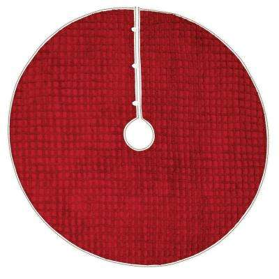 48 in. Reese Cherry Red Traditional Christmas Decor Tree Skirt