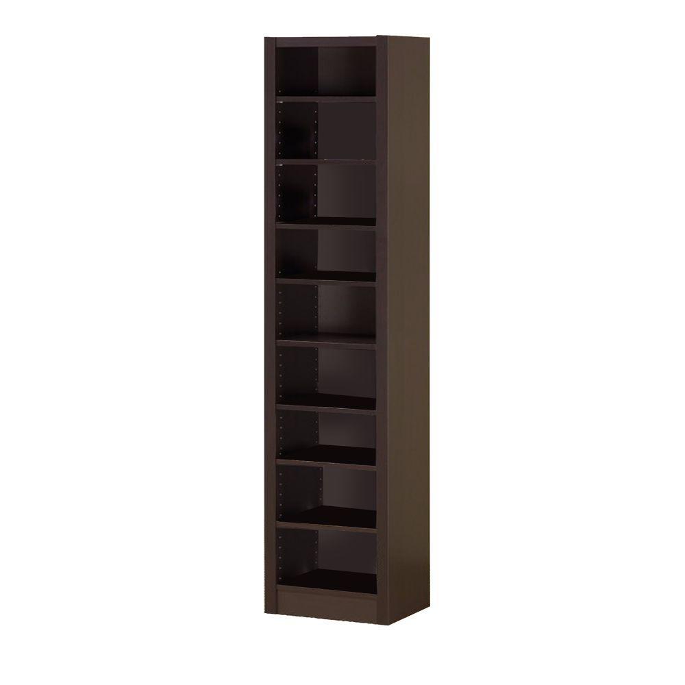 70.75 in. Brown Wood 9-shelf Standard Corner Bookcase