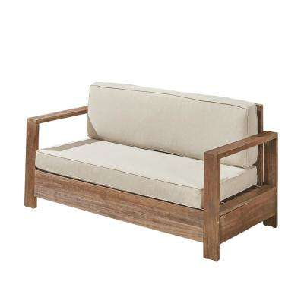 Devon Brushed Brown Wood Outdoor Loveseat with Light Beige Cushion