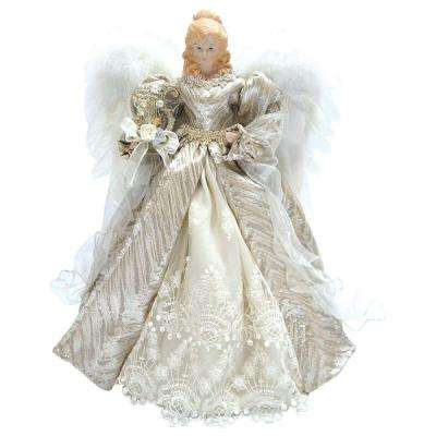 16 in. Angel Tree Topper Silver Elegance with Harp